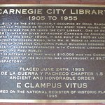 Carnegie City Library information plaque