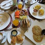 Full breakfast spread