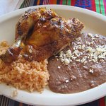 1/4 roasted chicken, rice and beans