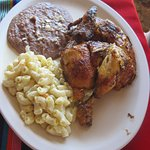 1/2 roasted chicken, macaroni salad and beans