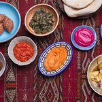 Falafel, lamb kibbeh, dips, pita and cauliflower