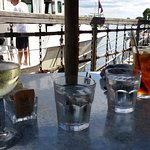 Waterfront table with adult beverages....