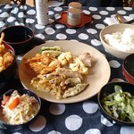 this is set meal of that day so tempura and rice, miso soup and we ordered one udon soup dish