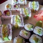 Healthy veggie rolls, fashion sandwiches and maki.