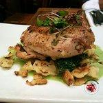 Roasted garlic & herbed chicken chicken breast w/ swiss and pecan spaetzle