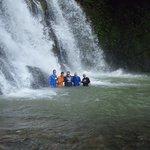 The group enjoying the waterfall!