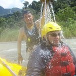 Luis having fun with one of our group during rafting!