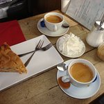 The Apple Pie with Creme and Lovely Coffee
