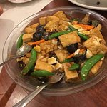 deep fried tofu with fungus and green beans