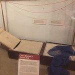 A fascinating piece - Clara Barton's field trunk cot. Look at all the text around this one piece