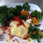 Vegetarian lasagna with pumpkin, kale, capsicum and fetta salad