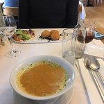 Carrot cream soup and cheese croquettes