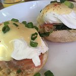 Poached eggs on English muffins