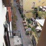 View from our room down to laneway accessing hotel