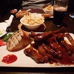 Some ribs, drinks and potatoes