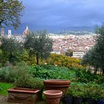 beautiful Fall view with empty clay pots in garden
