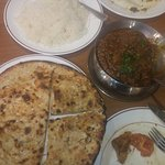 Peshwari naan, plain rice and masala lamb - excellent!