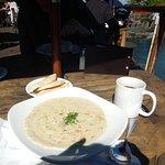 Seafood chowder and garlic bread