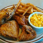 1/2 Pressure Fried Chicken, Fries,and Corn.