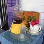 Fresh brewed ice Tea in our Porch