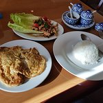 nam tok moo (pork/Isaan style) with Thai omelette...