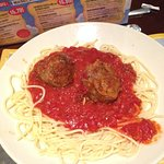 Pasta and meatballs dish at Spaghetti Factory San Diego