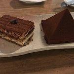 Chocolate pyramid and tiramisu.  Both delicious!!