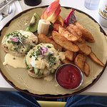 Eggs Benedict with avocado and crab meat