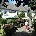 Thatched pub with a lovely beer garden