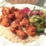 Amazing dinner - appetizer of hummus and pita, and main courses of vegetarian kebab and chicken