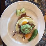 Arepas: Cuban Style Shredded Pork with Sunnyside Fresh Farm Eggs w/ Avocado Sauce