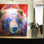 Grizzly painting in art gallery