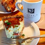 Salmon and goat cheese quiche, current scone and great coffee at Brown Bear Baking in Eastsound