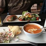 Bison burger and salad, Chicken Tzatziki Naan and soup