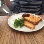 My friend Glenn had white toast, eggs & bacon - he's easy to please