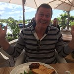 Glenn with his breakfast - nice sitting outside - & the service was very attentive - too much so