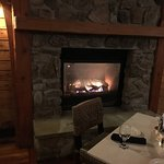 Bristol Harbor Lodge - fireplace in dining room