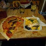 Half and half; Fillet steak pizza with seafood linguine.