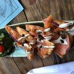 The salmon flatbread