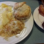 Ham/Provolone omlette, hashbrowns, biscuit and bacon