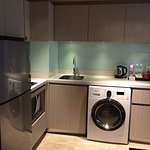 Well equipped kitchenette and a full sized fridge.