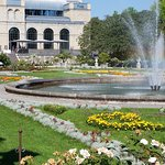The main building, with beautiful gardens and fountain.