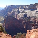 View of Angels Landing and the valley downstream.