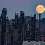 The SuperMoon Rises over the Steel Stacks and Sands Casino Area