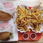 Hawaiian burgers and fries.
