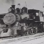 Historic train photo in station
