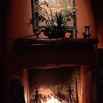 The lovely fireplace in the private room at the restaurant.