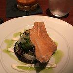Smoked Trout & Turnip-Potato Blini Horseradish crema, fennel & herb salad and chive oil