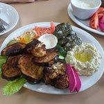 Roasted eggplant, roasted cauliflower, pickled turnip, hummus, dolmades, baba ghanoush, garlic s
