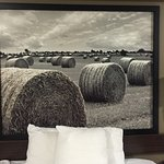 Prairie inspired artwork, round bales in a field, Super 8 Brandon MB,1570 Highland Avenue, Brand